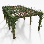 Wooden Pergola With Ivy Plant 3d model