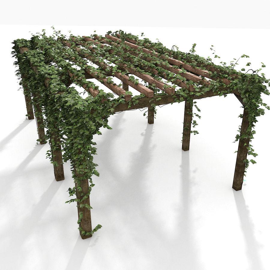 アイビー植物と木のパーゴラ royalty-free 3d model - Preview no. 2