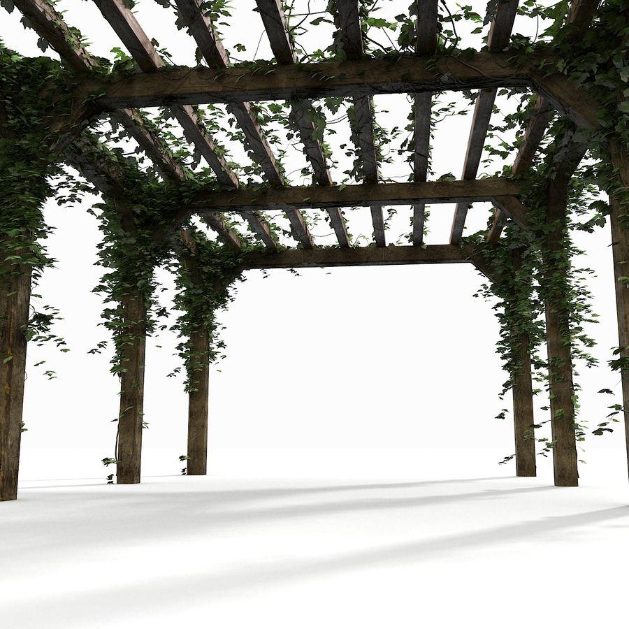 アイビー植物と木のパーゴラ royalty-free 3d model - Preview no. 16