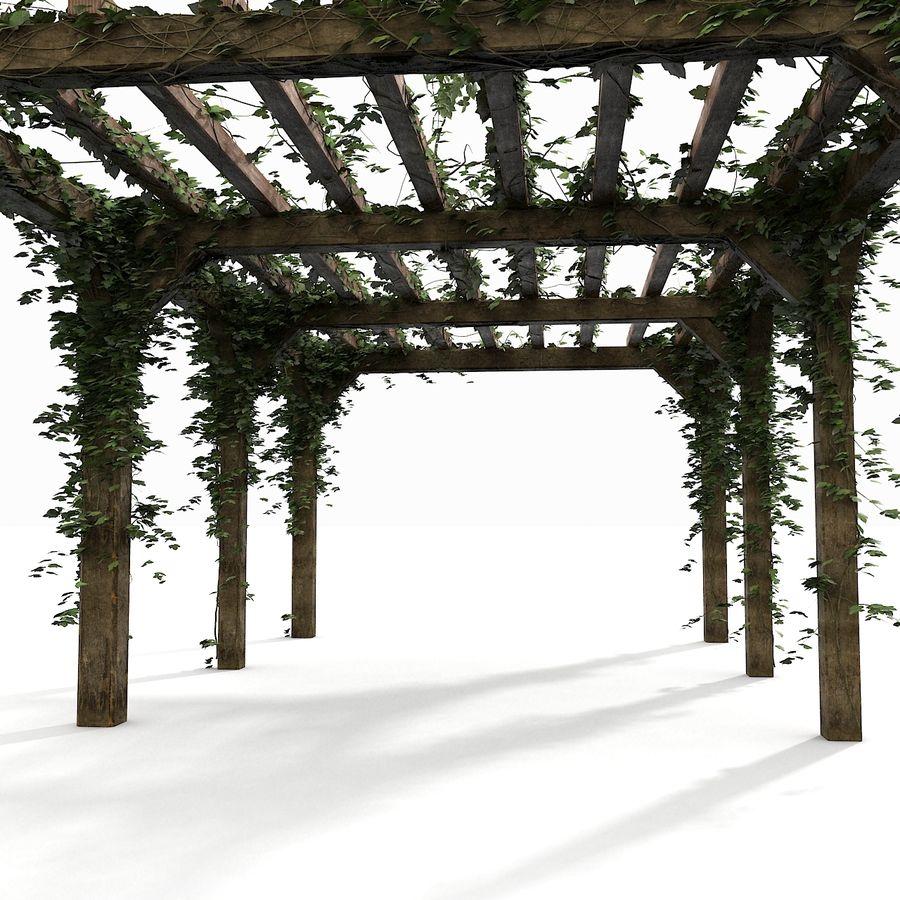 アイビー植物と木のパーゴラ royalty-free 3d model - Preview no. 9