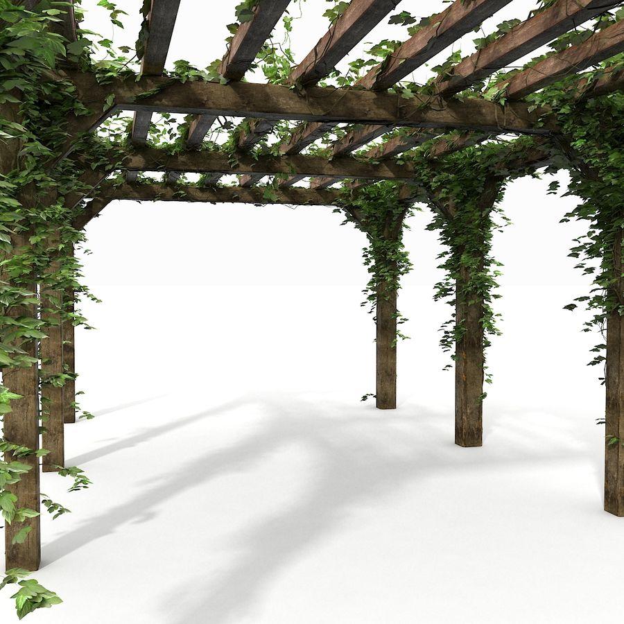 アイビー植物と木のパーゴラ royalty-free 3d model - Preview no. 17