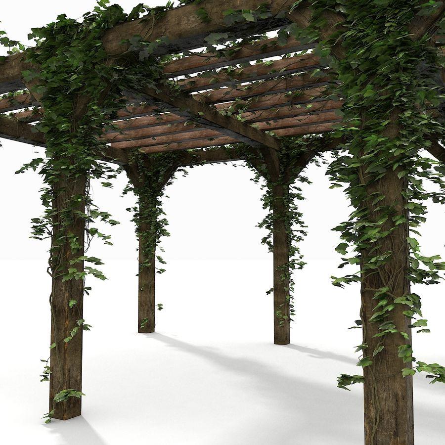 アイビー植物と木のパーゴラ royalty-free 3d model - Preview no. 13