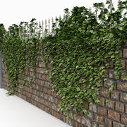 Brick Castle Wall Fence With Ivy 3d model