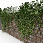 Brick Castle muur hek met klimop 3d model