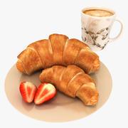 Croissant y cafe modelo 3d