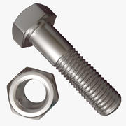 Hex Nut And Bolt 3d model
