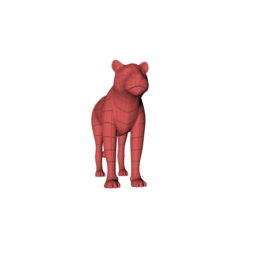 Lioness base mesh royalty-free 3d model - Preview no. 3