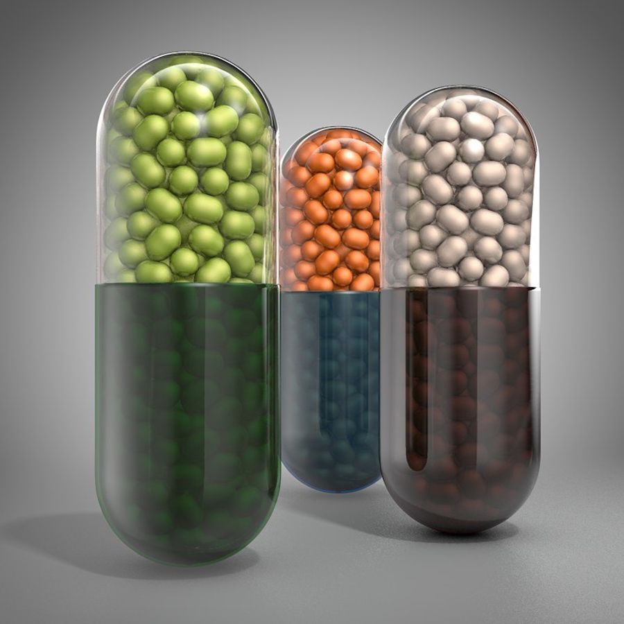 capsule pill detailed royalty-free 3d model - Preview no. 2