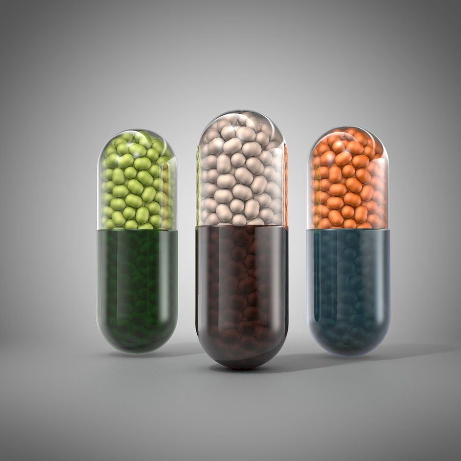 capsule pill detailed royalty-free 3d model - Preview no. 1