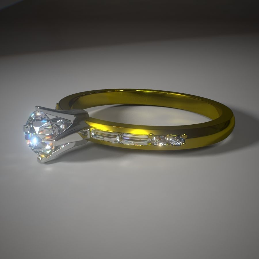 Diamond Solitaire royalty-free 3d model - Preview no. 1