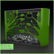 Banco de botellas verdes modelo 3d