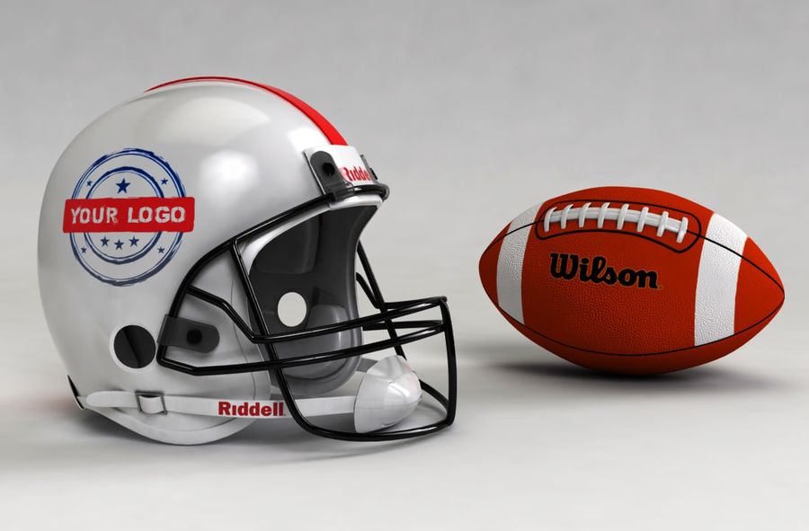 Football helm royalty-free 3d model - Preview no. 1