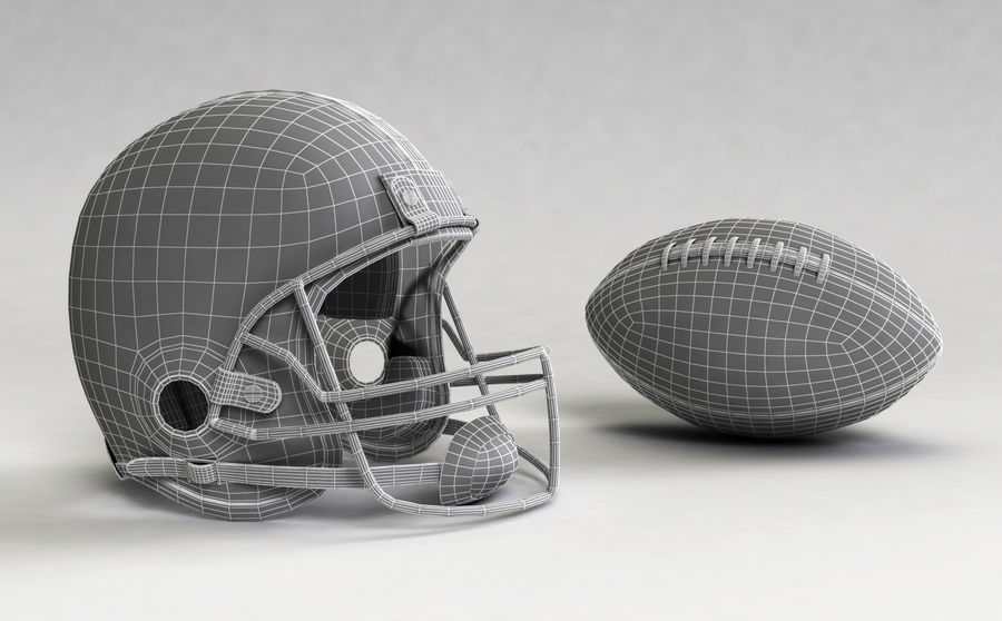 Football helm royalty-free 3d model - Preview no. 2