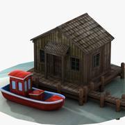 목조 호수 집과 보트 3d model