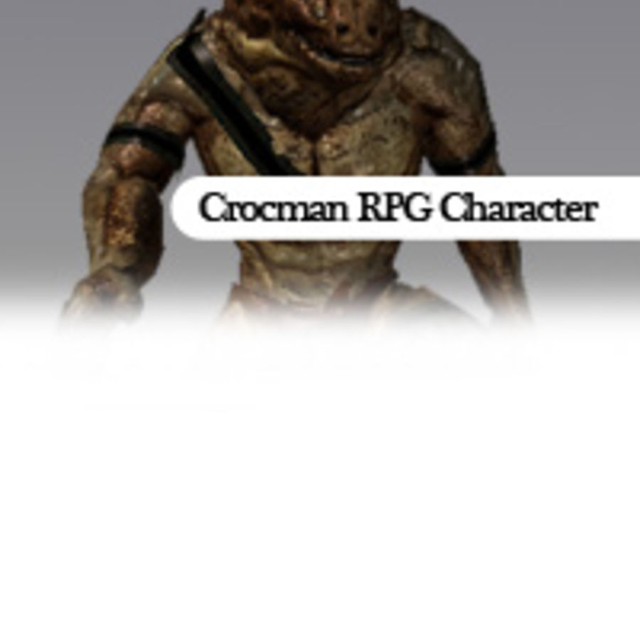 Crockman RPG Karakteri Arma royalty-free 3d model - Preview no. 5