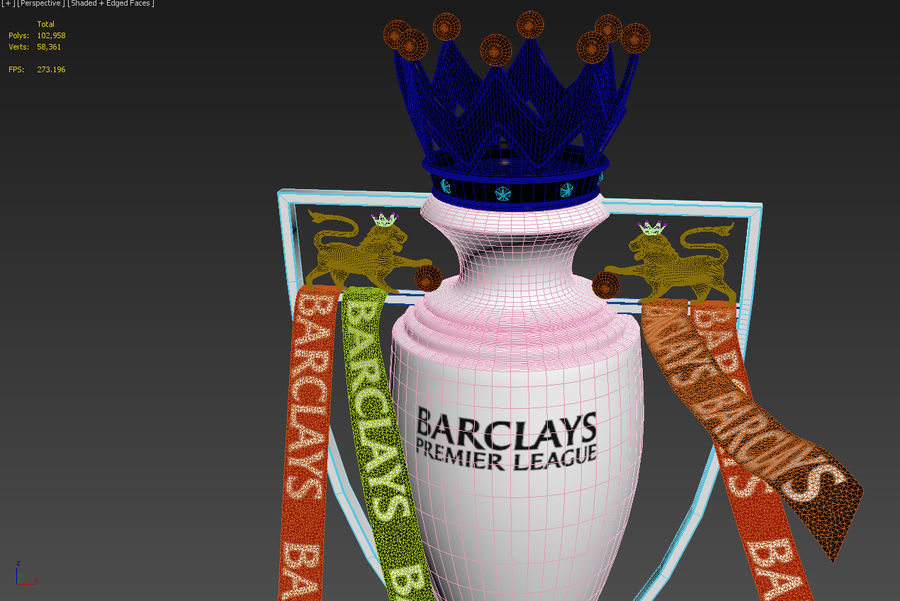 Premier League Trophy royalty-free 3d model - Preview no. 6