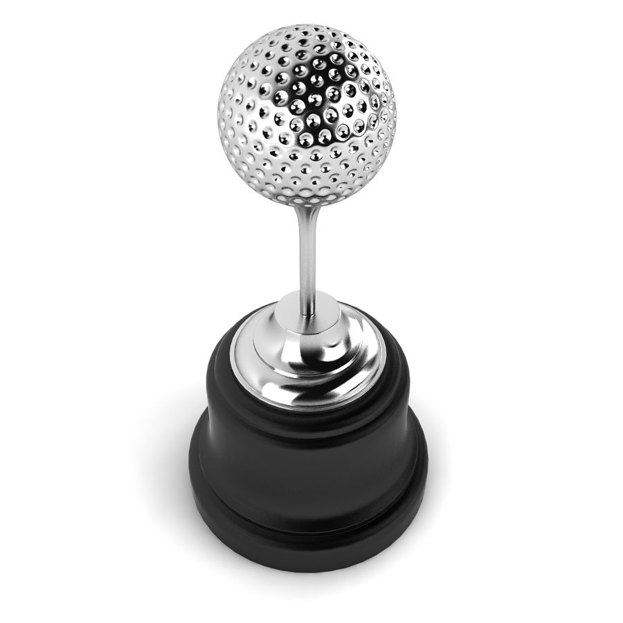 Golf Ball Trophy royalty-free 3d model - Preview no. 3