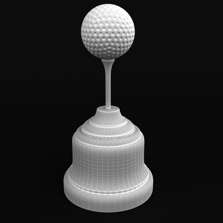 Golf Ball Trophy royalty-free 3d model - Preview no. 6