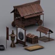 江戸町小道具リアルタイム 3d model