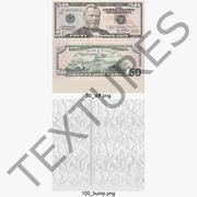 50 Dollar Bills Set 3d model
