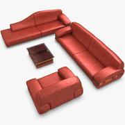 Röd modern soffuppsättning 3d model