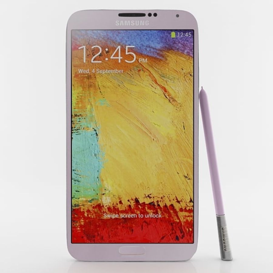 Samsung Galaxy Note 3 Pink royalty-free 3d model - Preview no. 1