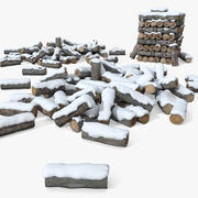 Snöskydd Chop Wood Wood Pile 3d model