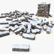 Pilha de toras de madeira 3d model