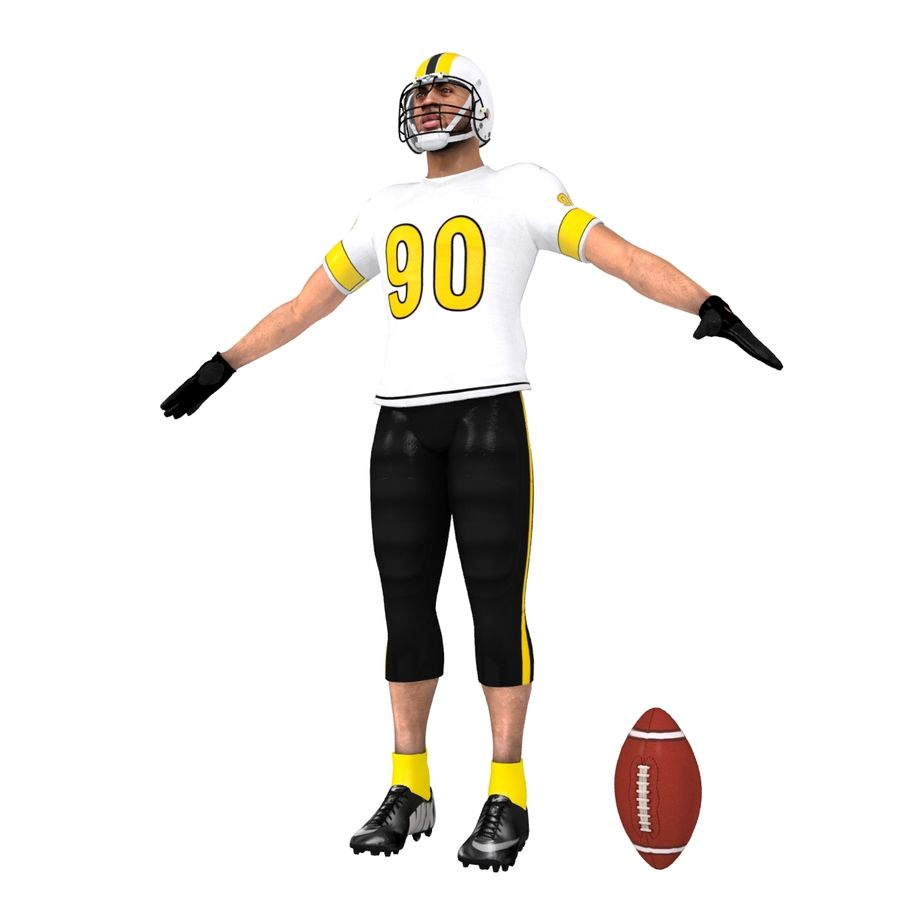 Football player custom royalty-free 3d model - Preview no. 3