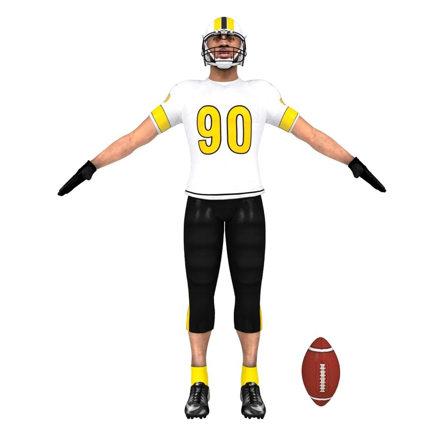 Football player custom royalty-free 3d model - Preview no. 2