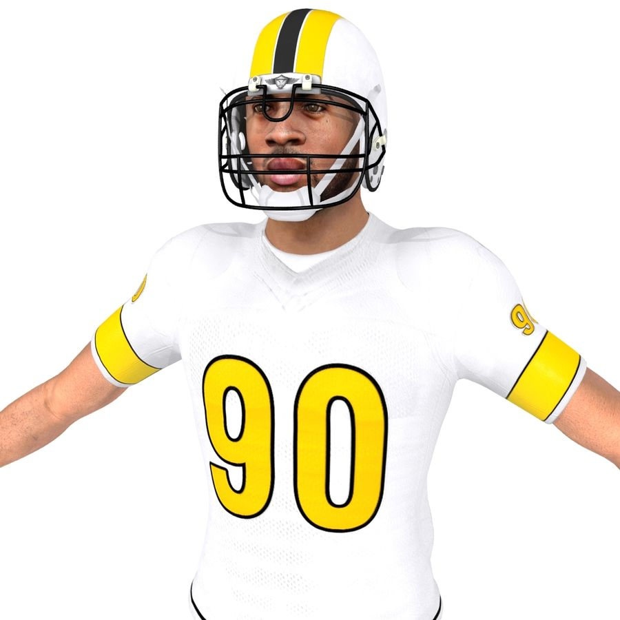 Football player custom royalty-free 3d model - Preview no. 4