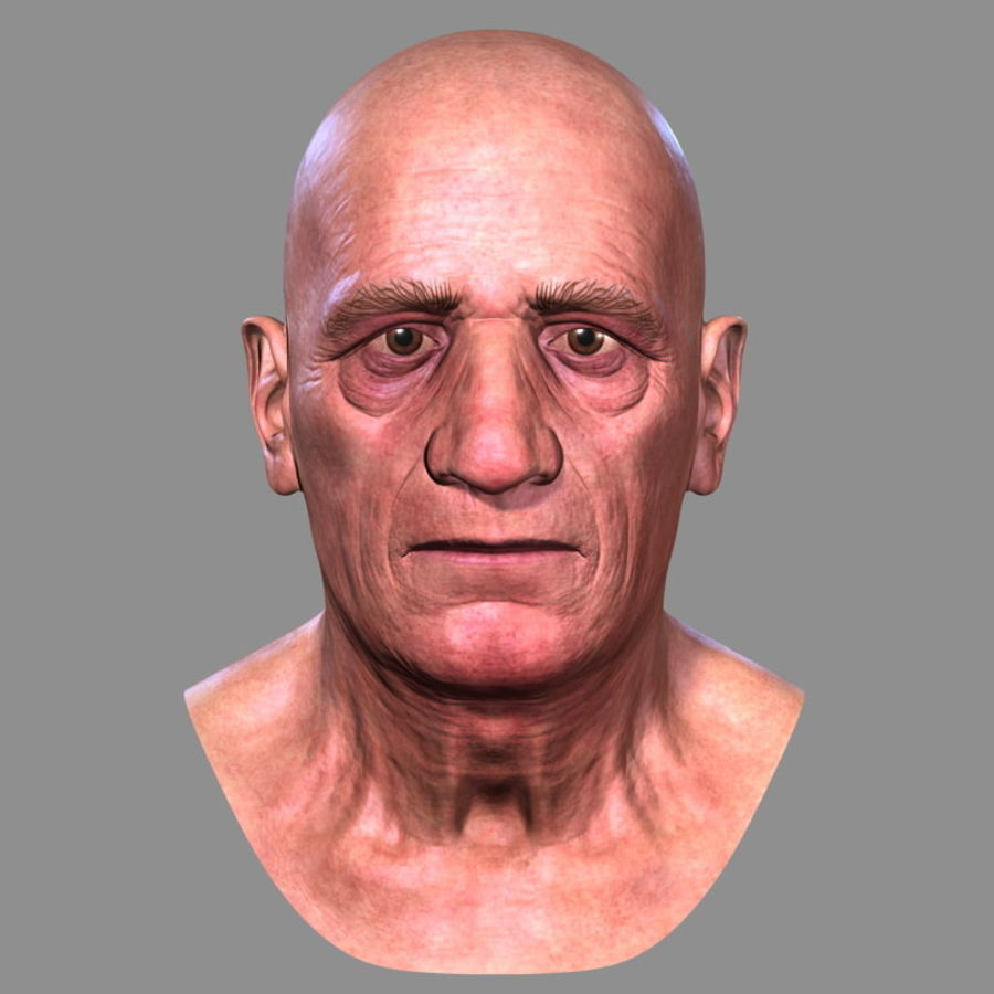 Old Man - Head royalty-free 3d model - Preview no. 3