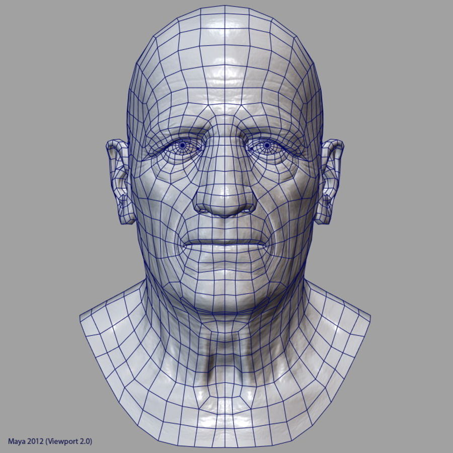 Old Man - Head royalty-free 3d model - Preview no. 27