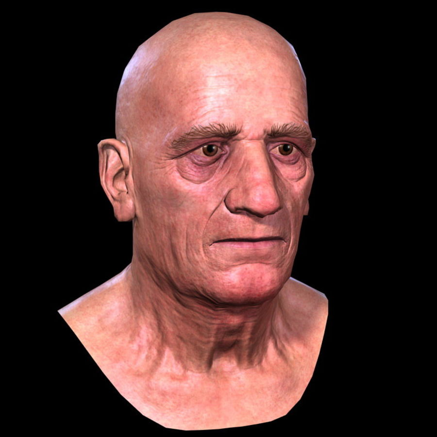 Old Man - Head royalty-free 3d model - Preview no. 10