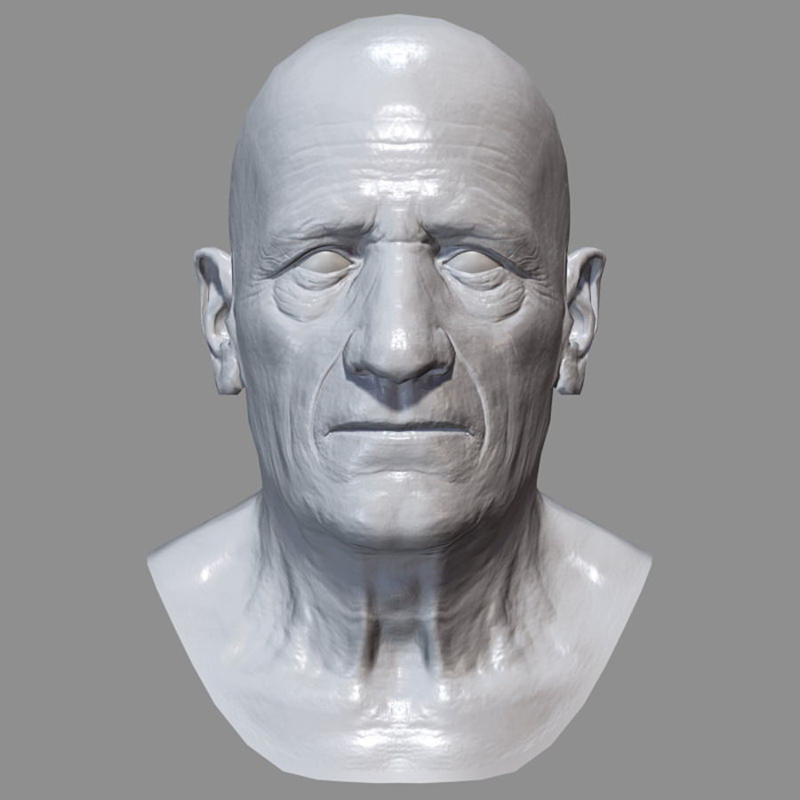 Old Man - Head royalty-free 3d model - Preview no. 20