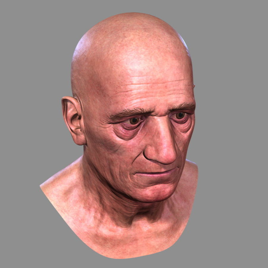 Old Man - Head royalty-free 3d model - Preview no. 9