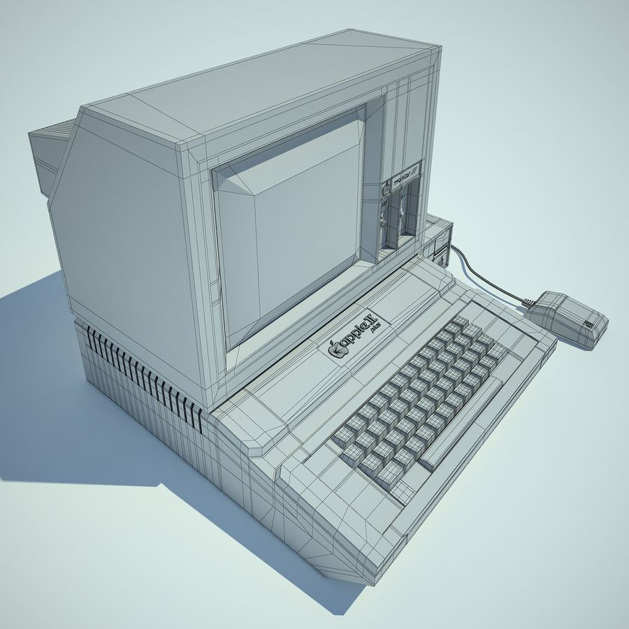 Apple 2 Computer royalty-free 3d model - Preview no. 14