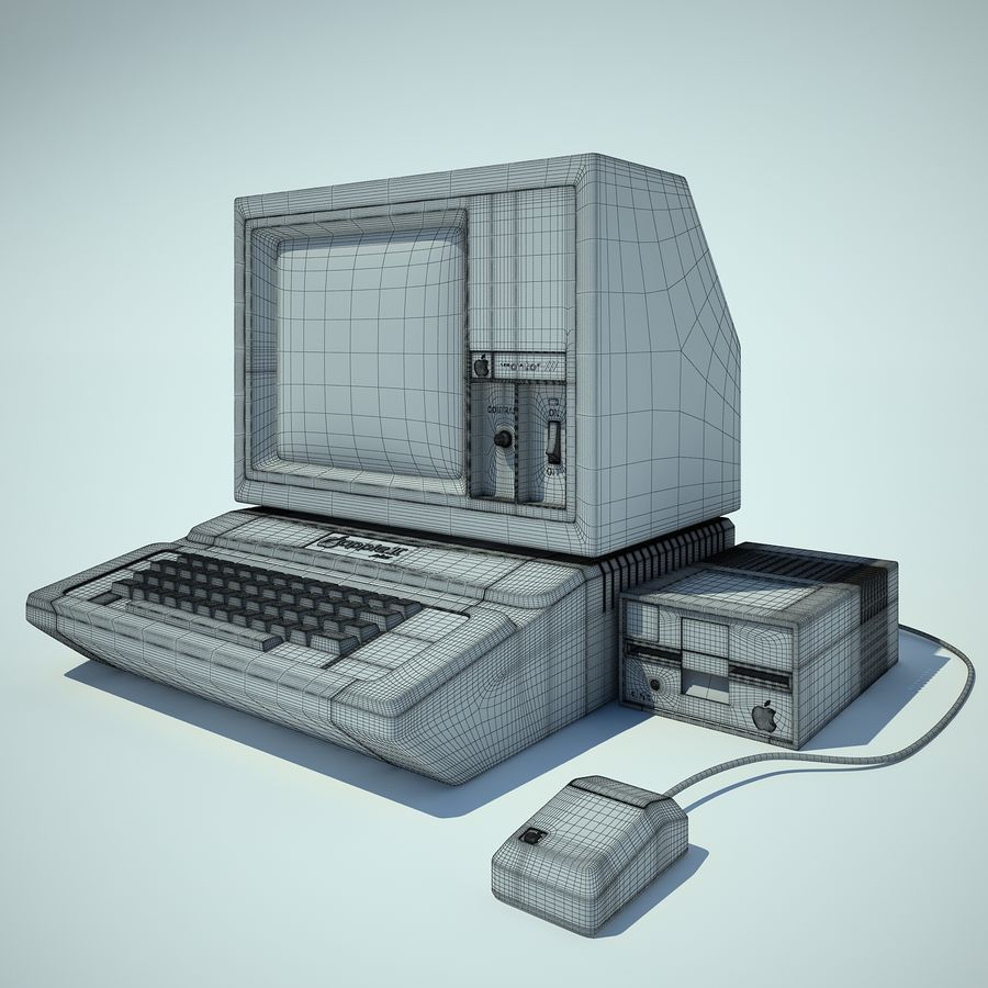 Apple 2 Computer royalty-free 3d model - Preview no. 3