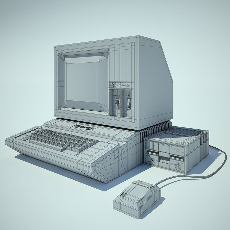 Apple 2 Computer royalty-free 3d model - Preview no. 4