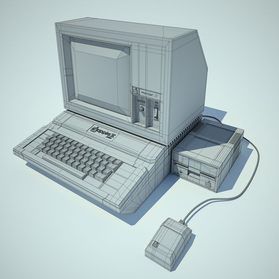 Apple 2 Computer royalty-free 3d model - Preview no. 12
