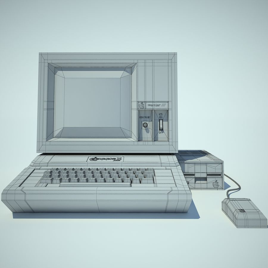 Apple 2 Computer royalty-free 3d model - Preview no. 6