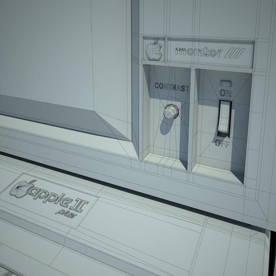 Apple 2 Computer royalty-free 3d model - Preview no. 20
