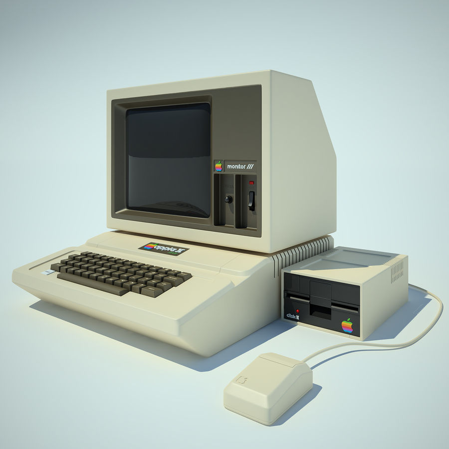 Apple 2 Computer royalty-free 3d model - Preview no. 2