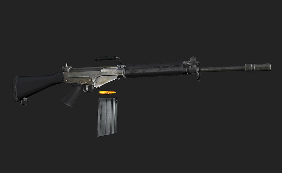 Модель FN FAL LowPoly royalty-free 3d model - Preview no. 2