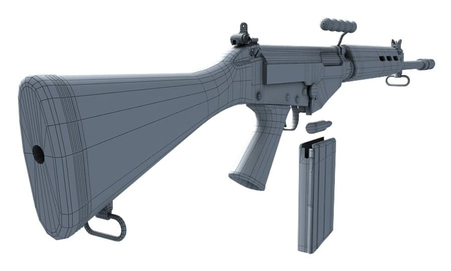 FN FAL LowPolyモデル royalty-free 3d model - Preview no. 13