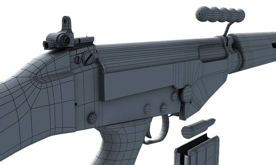 Модель FN FAL LowPoly royalty-free 3d model - Preview no. 18