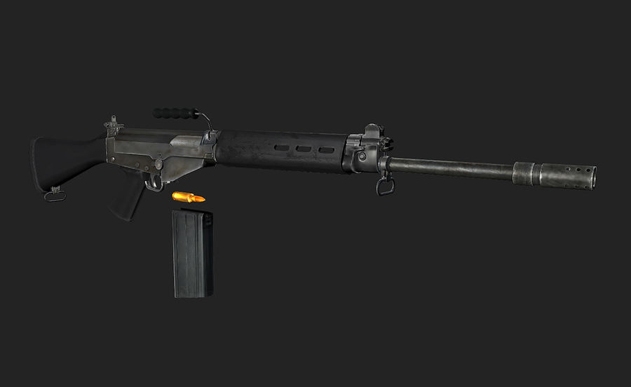FN FAL LowPolyモデル royalty-free 3d model - Preview no. 3