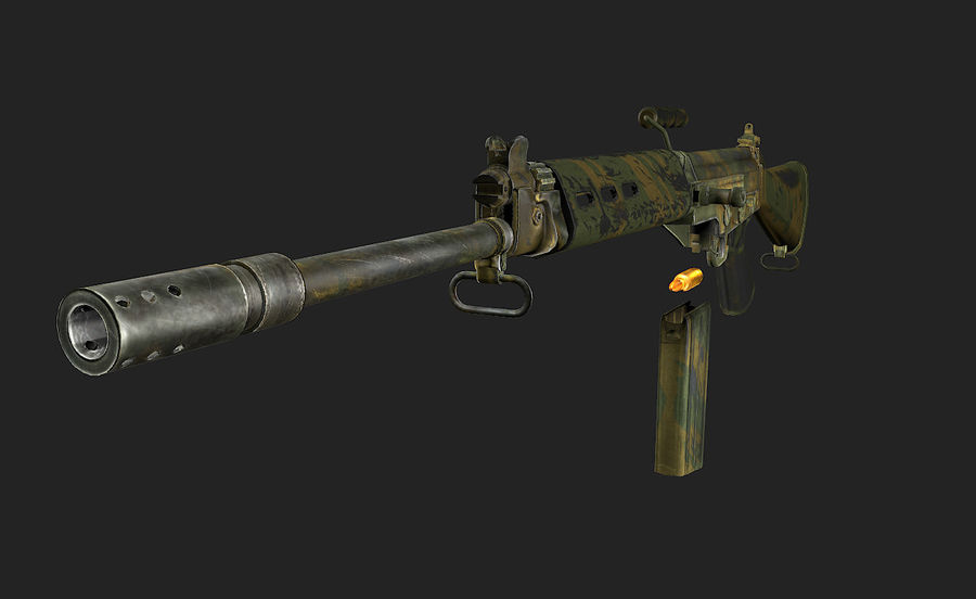 FN FAL LowPolyモデル royalty-free 3d model - Preview no. 5