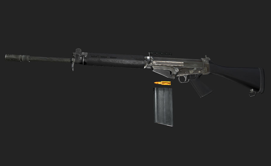 Модель FN FAL LowPoly royalty-free 3d model - Preview no. 1