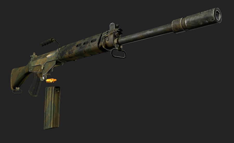 Модель FN FAL LowPoly royalty-free 3d model - Preview no. 6